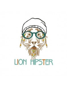 Instant download machine embroidery applique lion hipster