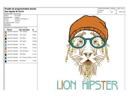 Motif de broderie machine Lion Hipster avec son bonnet