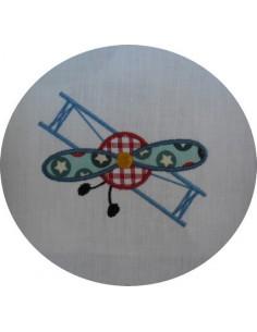 Motif de broderie  avion biplan