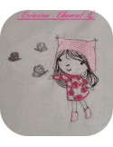 Instant download machine embroidery design little girl book