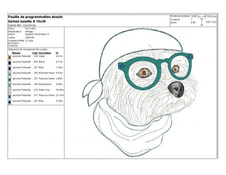 Motif de broderie machine appliqué bichon maltais à lunettes