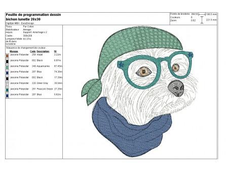 Motif de broderie machine bichon à lunettes