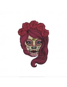 Motif de broderie machine femme sugar skull