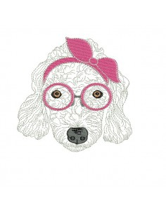 Instant download machine embroidery poodle with glasses