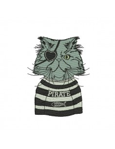 Motif de broderie machine chat pirate