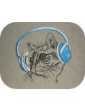 Motif de broderie machine chat avec ses écouteurs