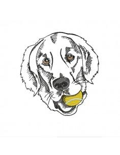 Motif de broderie machine labrador avec sa balle de tennis
