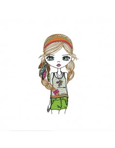 Instant download machine embroidery design hippie girl