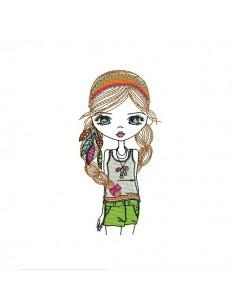 Motif de broderie machine petite fille hippie