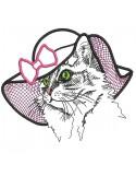 Motif de broderie machine chatte au chapeau