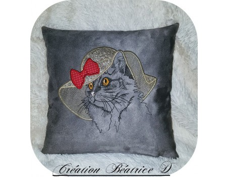 Instant download machine embroidery cat captain