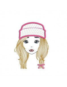 Motif de broderie machine fille avec son bonnet en mylar