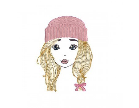 Instant download machine embroidery design girl with cap mylar
