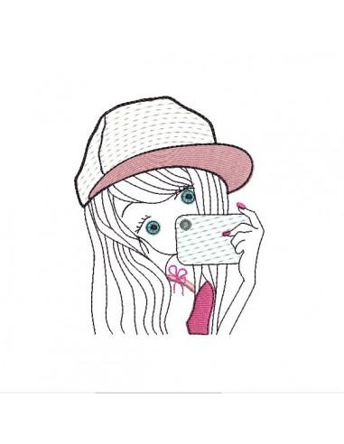 Instant download machine embroidery design girl selfie