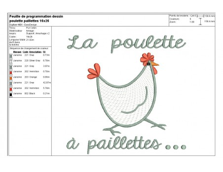 Instant download machine embroidery  applique Hen with small dots