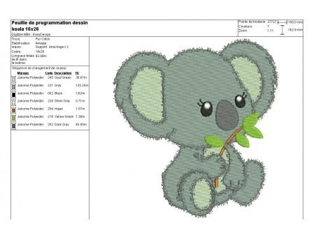 Motif de broderie machine koala