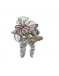 Instant download machine embroidery  Miss ostrich
