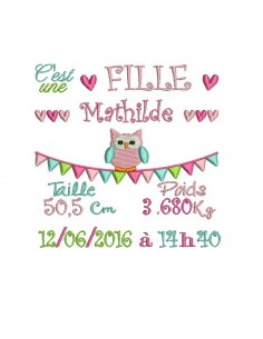 Instant download machine embroidery design Newspaper Birth Announcement girl