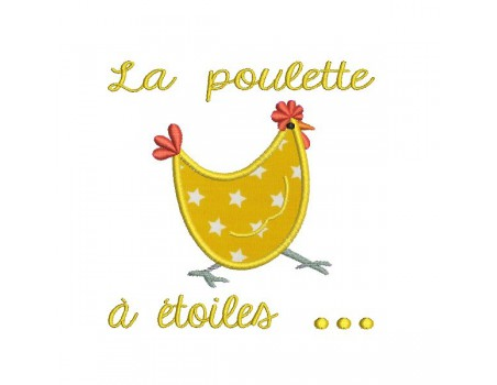 Instant download machine embroidery  applique Hen with star
