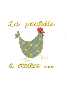 Instant download machine embroidery   Hen with star