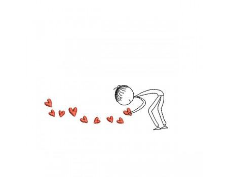 Motif de broderie machine amoureux ramassant des coeurs