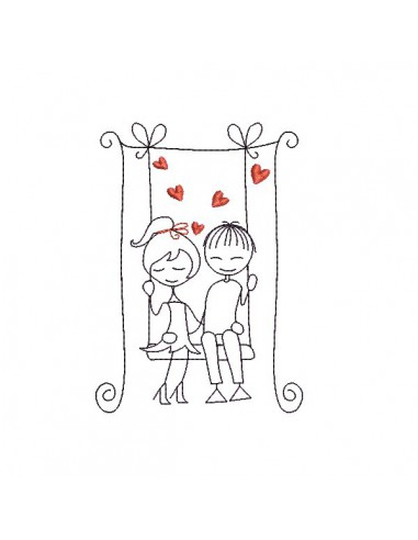 Instant download machine embroidery design lover with hearts