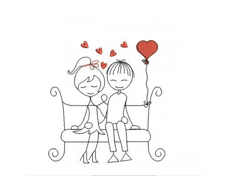 Motif de broderie machine amoureux sur un banc