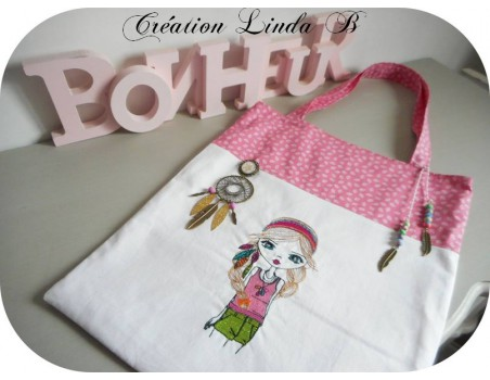 Instant download machine embroidery design hippie girl