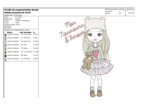 Instant download machine embroidery design little girl with teddy