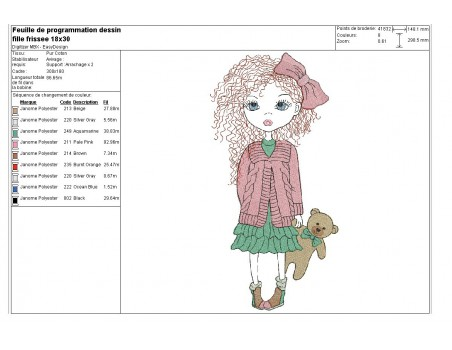 Instant download machine embroidery design little curly hair girl mylar
