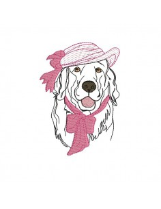 Motif de broderie machine golden retriever au chapeau appliqué mylar