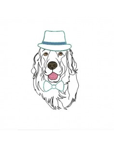 Motif de broderie machine golden retriever au chapeau et noeud appliqué