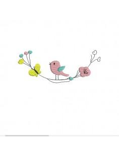 Motif de broderie machine fleurs printemps