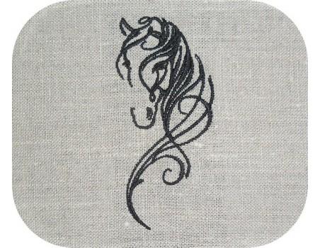 Motif de broderie machine  tête de cheval
