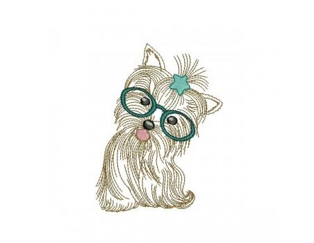 Motif de broderie machine yorkshire à lunettes et étoile