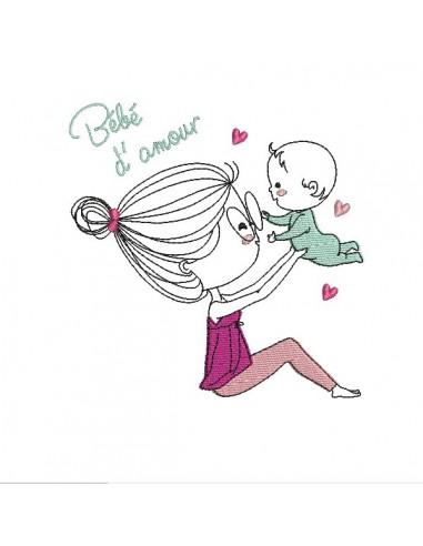 Motif de broderie machine bébé d'amour