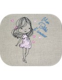 Instant download machine embroidery design vintage pregnant woman