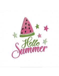 Motif de broderie machine  pastèque hello summer