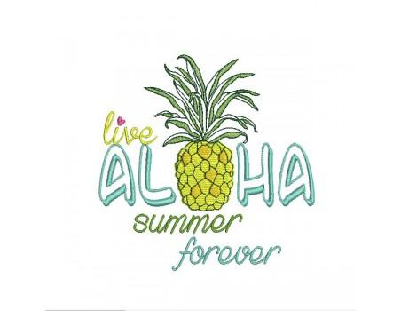 Motif de broderie machine  ananas aloha