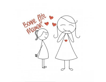 Motif de broderie machine bonne fête maman