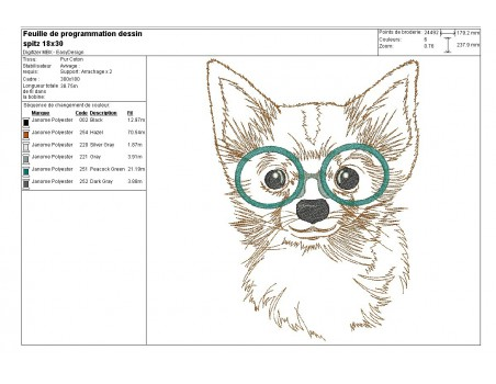 Instant download machine embroidery  yorkshire with glasses