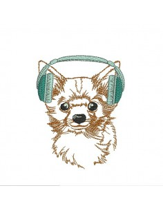 Instant download machine embroidery  spitz with glasses
