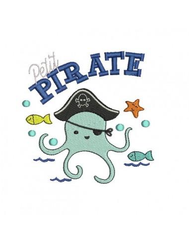 Motif de broderie machine pieuvre pirate