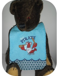 machine embroidery design  Bib ITH lobster  little pirate