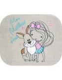 Motif de broderie machine petite fille avec son chien
