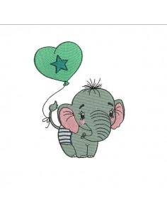 Motif de broderie machine bébé éléphant avec son ballon