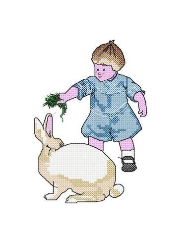 Garçon et gros lapin 13x18