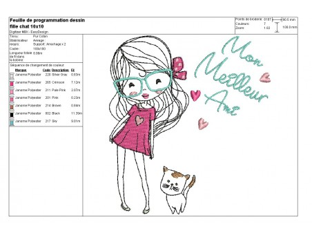 Instant download machine embroidery design little girl with his dog
