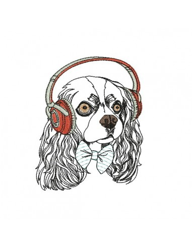 Instant download machine embroidery  spitz with his earphone