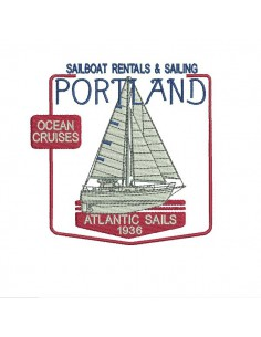 Instant download machine embroidery sailboat